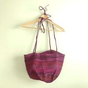 Handbags - Woven Shoulder Bag Pink Purple Straw Adjustable